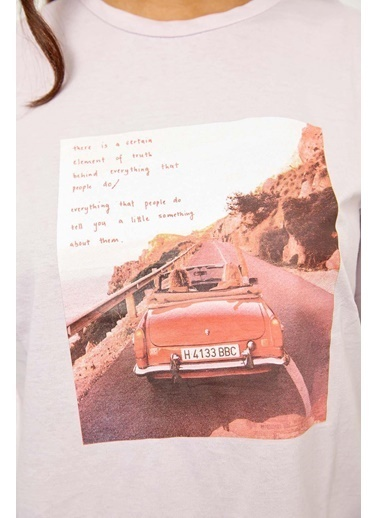 Setre Mor Kısa Kol Baskılı T-Shirt Lila